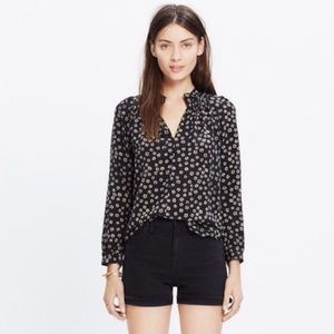 MADEWELL Silk Floral Blouse with 3/4 Sleeves
